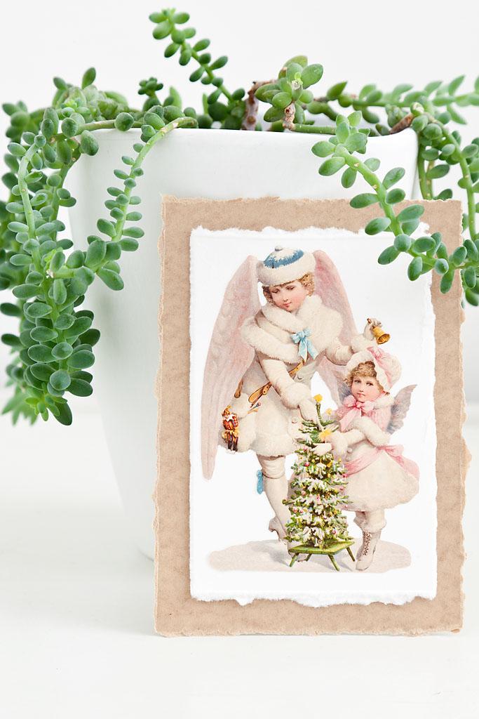 romantische karte im vintage look mit weihnachtlichem motiv