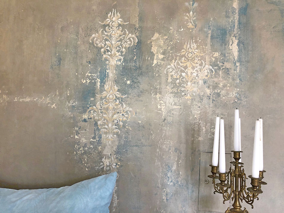 Ausschnitt barocke Muster die zum Wände patinieren verwendet wurden